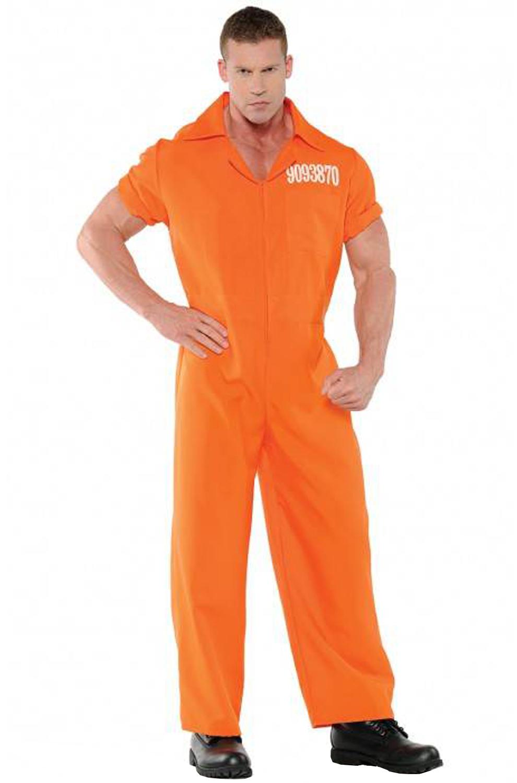 Convicted Prisoner Inmate Orange Jumpsuit Men Adult Costume | eBay
