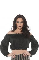 Pirate Crop Top Blouse Black Adult Costume