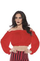 Pirate Crop Top Blouse Red Adult Costume