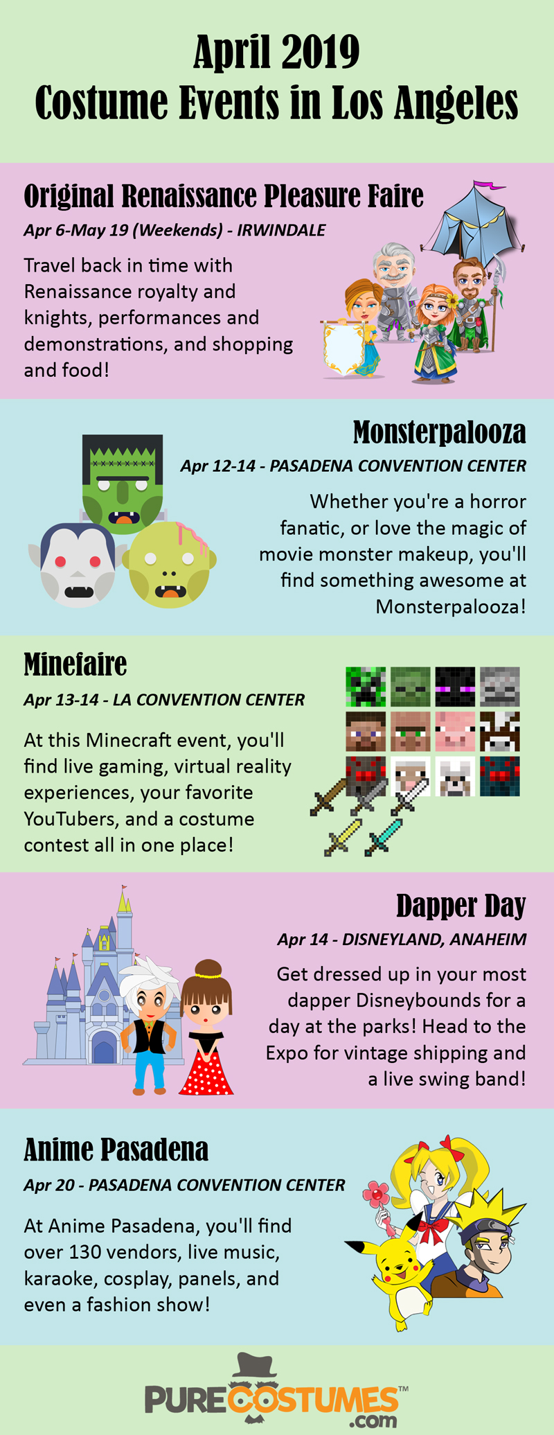 infographic Los Angeles Costume Events April 2019