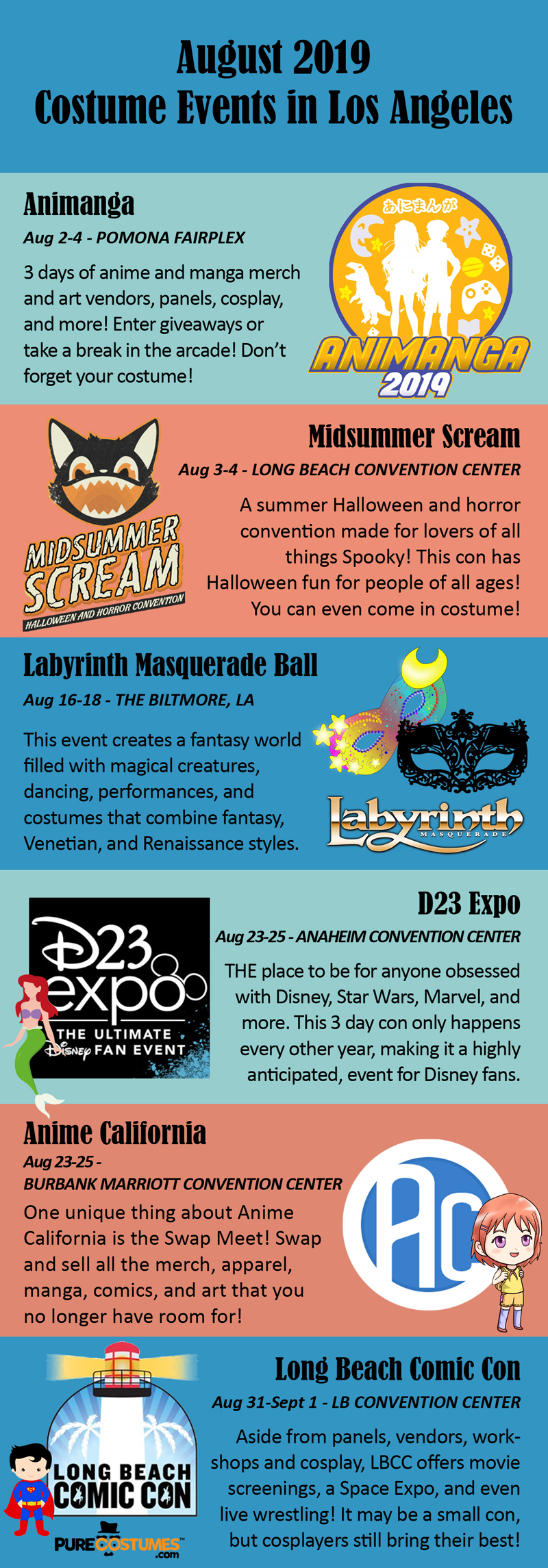 August 2019 Los Angeles Costume Events