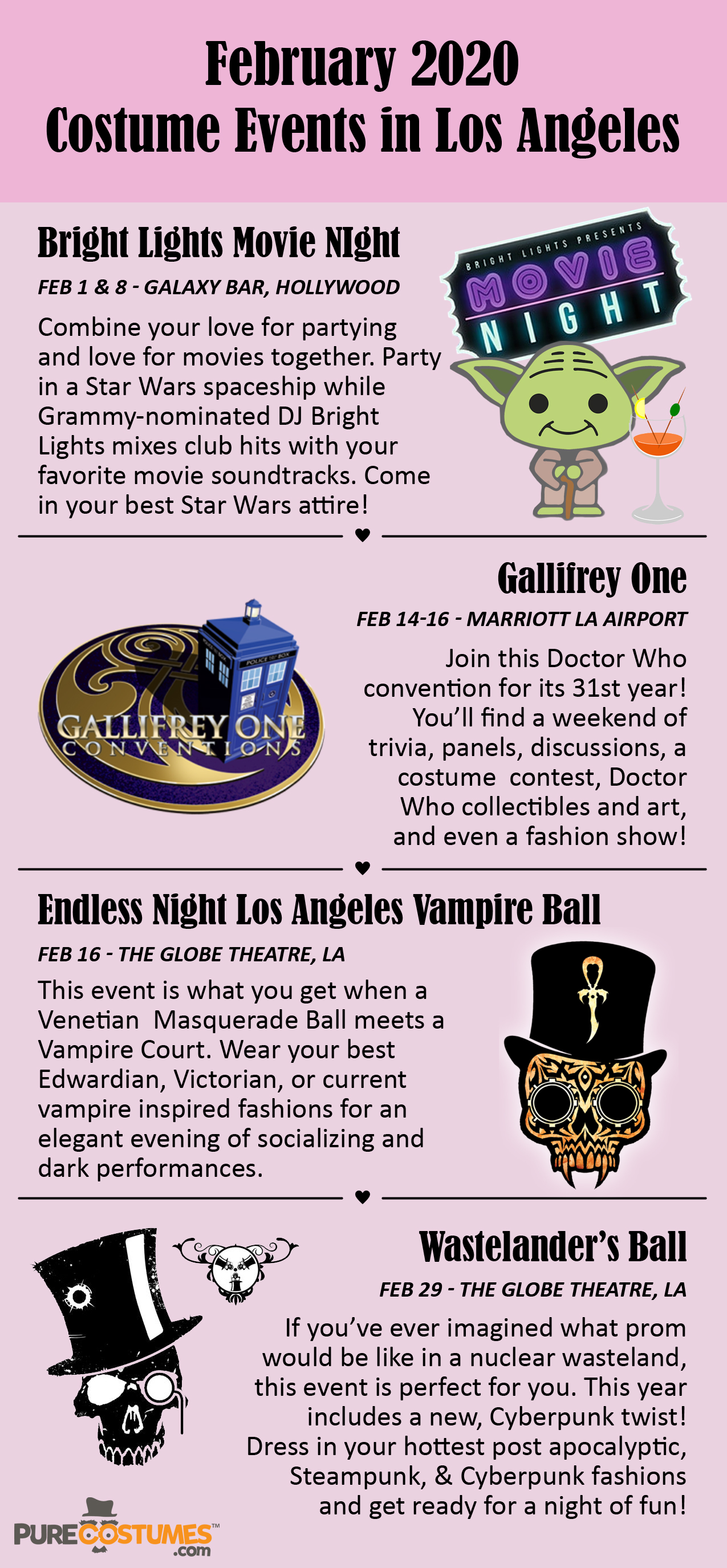 infographic February 2020 Los Angeles Costume Events