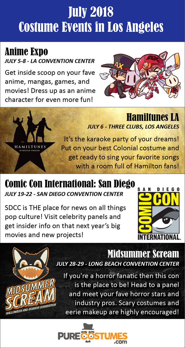 los angeles costume events july 2018 infographic